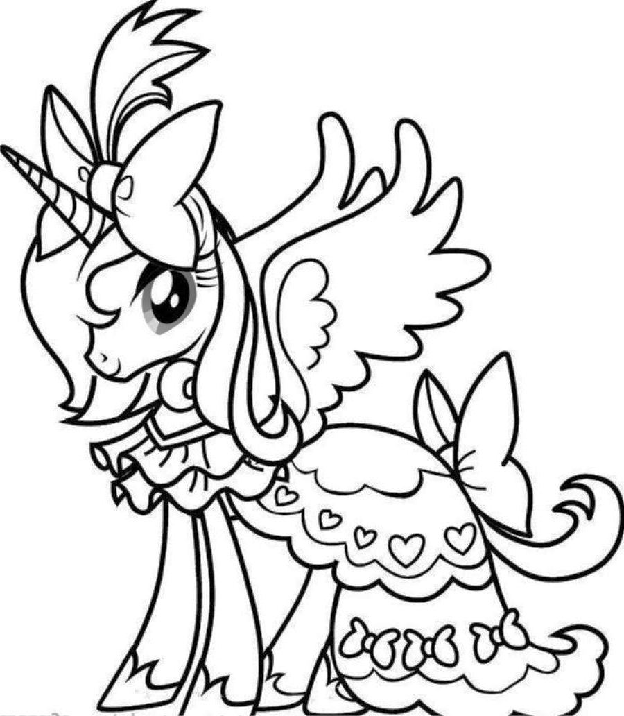 900x1032 Princess Unicorn Coloring Pages