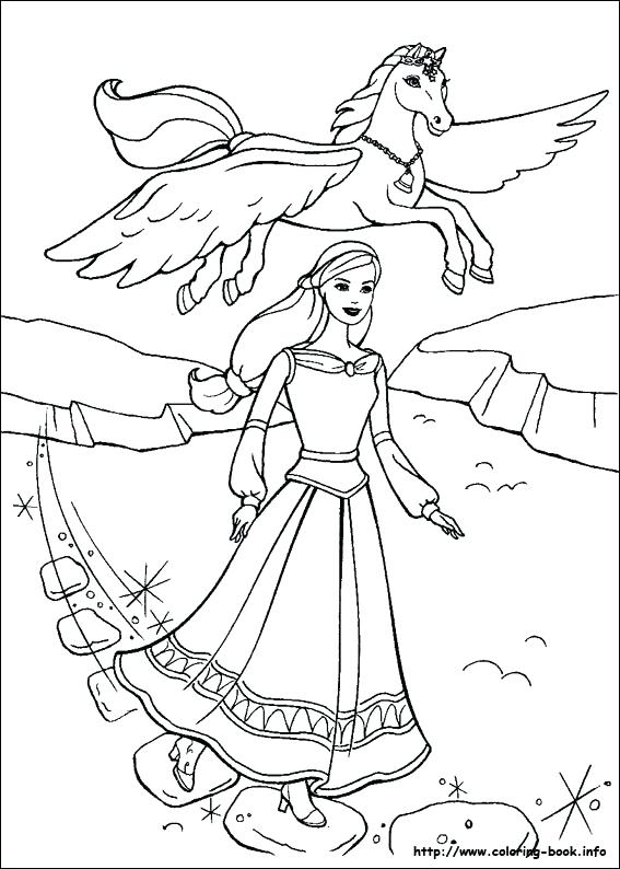567x794 Barbie And The Magic Of Coloring Pages Unicorn Pegasus Colouring