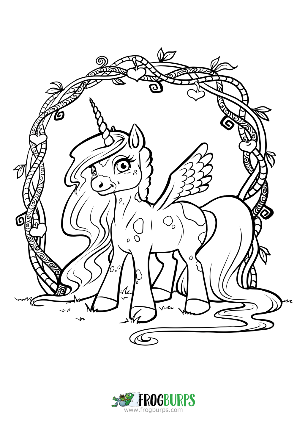 1000x1415 Cute Unicorn Coloring Page Frogburps