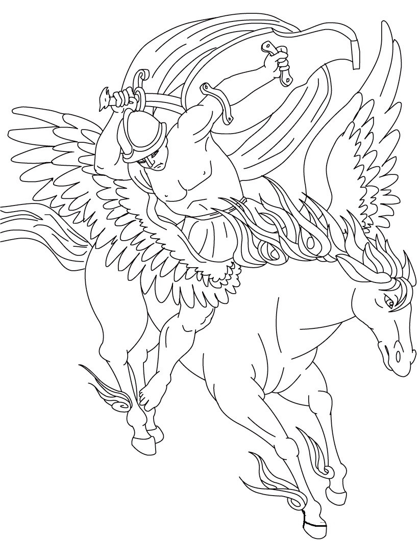 821x1061 Free Printable Pegasus Coloring Pages For Kids Arresting Winged