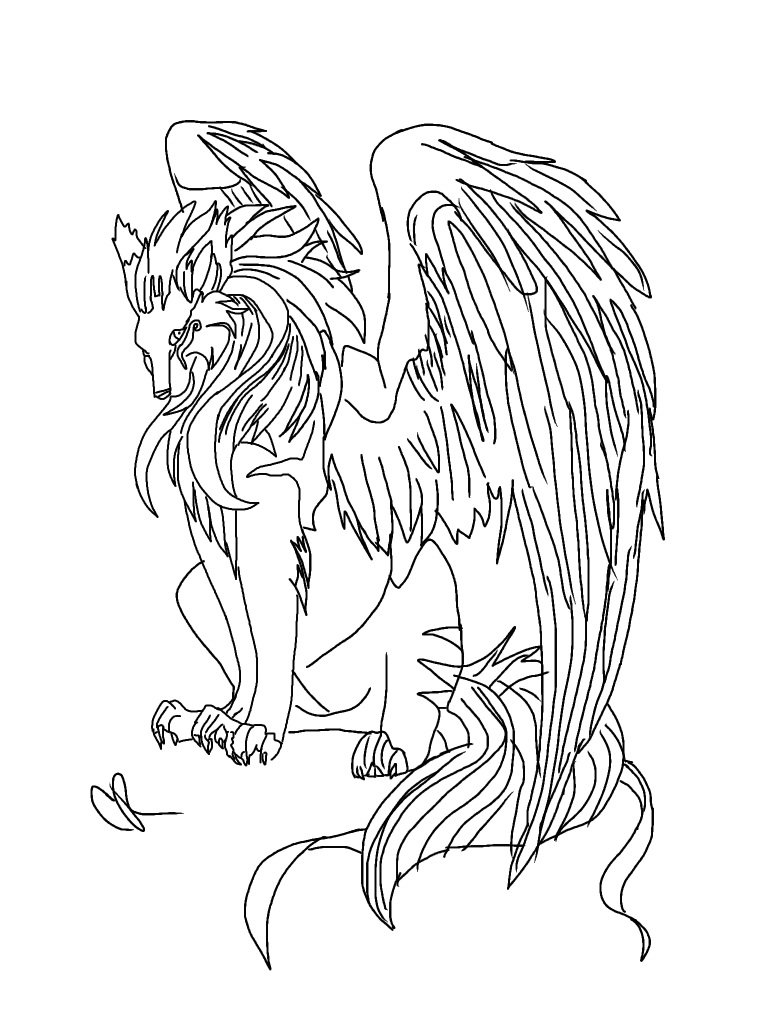 768x1024 Coloring Pages Of Wolves With Wings Printable Coloring For Kids