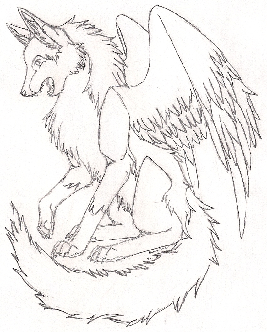 850x1059 Anime Wolf With Wings Coloring Pages Printable Coloring For Kids