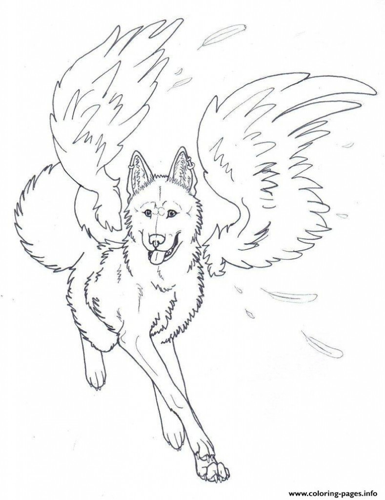 789x1024 Winged Wolf Angel Coloring Pages Printablein Of Wolves