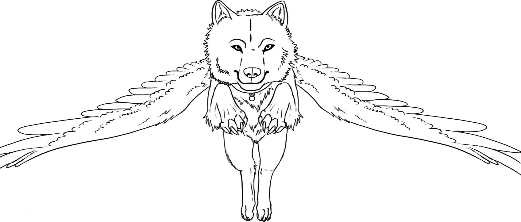 1696x724 Winged Wolf Coloring Pages