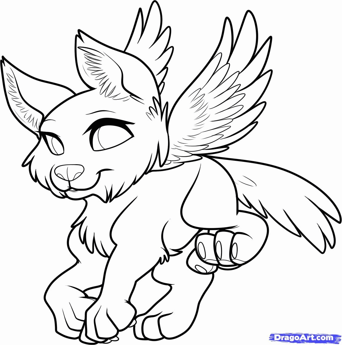 1111x1122 Wolf With Wings Coloring Pages