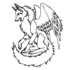 230x230 Wolf With Wings On Wolves Coloring Pages