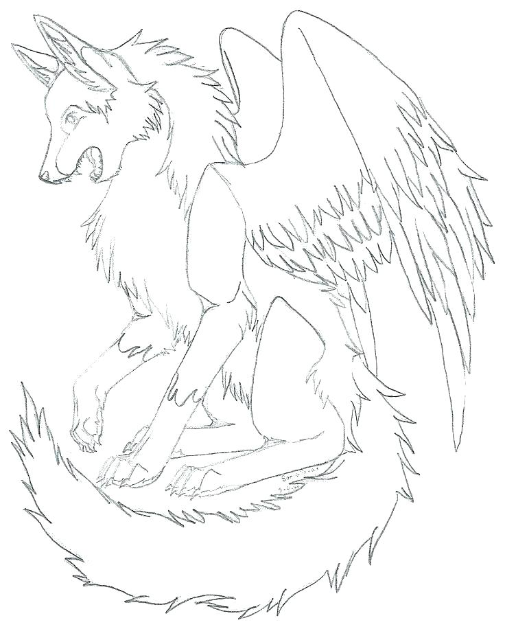 736x916 Coloring Pages Of Wolf With Wings A Adult Patterns Printable