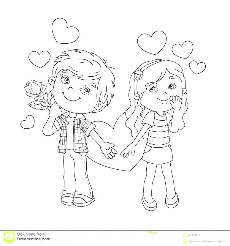 775x828 Boy Girl Outline Coloring Pages Printable Coloring Outline