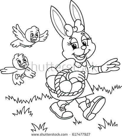 414x470 Coloring Page Outline Cartoon Bunny With Coloring Page Outline