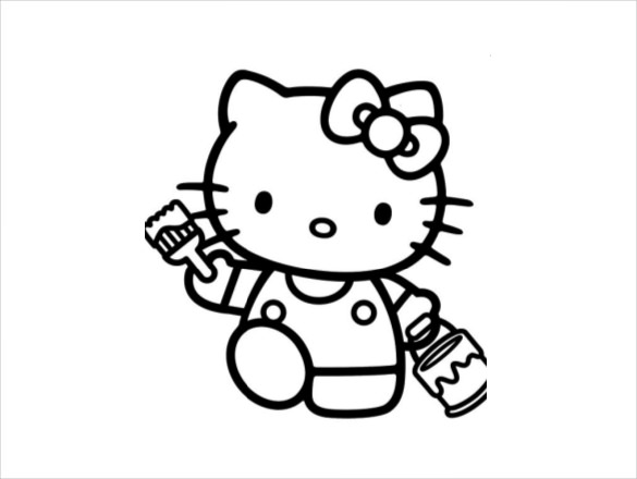 585x440 Hello Kitty Coloring Page