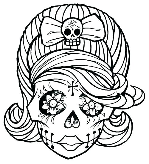 500x547 Sugar Skull Color Pages Skull Coloring Book As Well As Skull