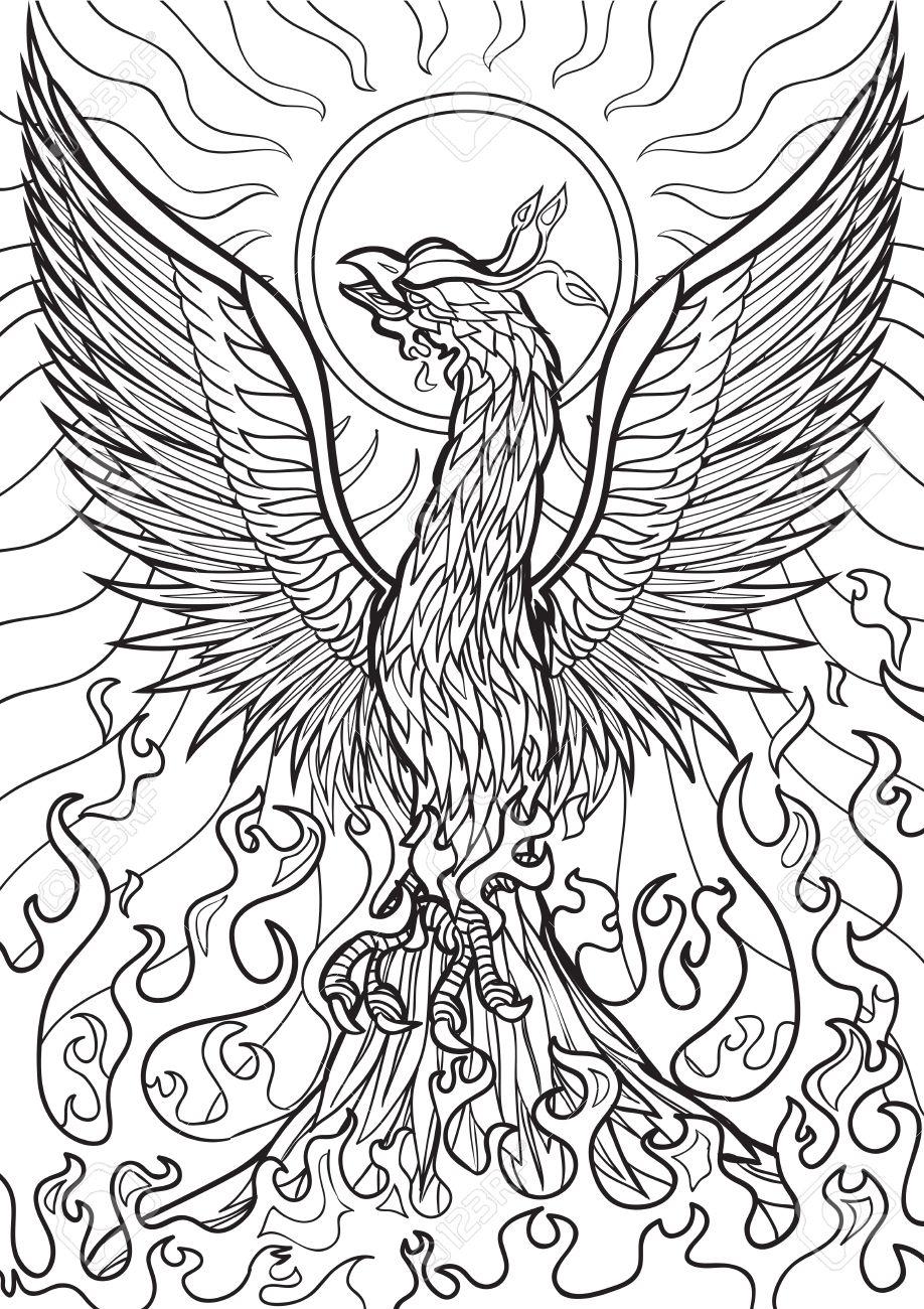 Phoenix coloring pages - Hellokids.com | 1300x918