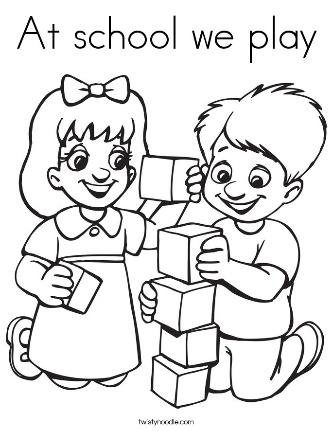 685x886 At School We Play Coloring Page