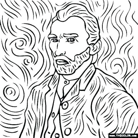 480x480 Van Gogh Coloring Pages Van Coloring Pages Van Portrait Coloring