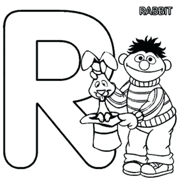 600x600 Learn Letter R For Rabbit In Sesame Street Coloring Page Bulk