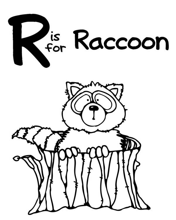 600x750 R Is For Raccoon Coloring Page
