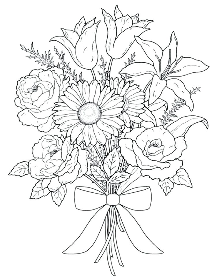 752x960 Realistic Flower Coloring Pages Realistic Flowers Coloring Pages