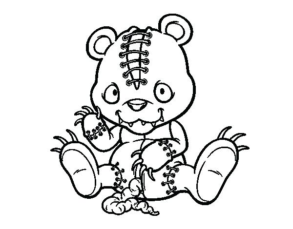 600x470 Scary Coloring Pages Scary Teddy Bear Coloring Page Free Printable