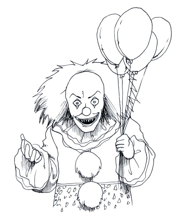 736x902 Scary Clown Coloring Pages Clown Coloring Pages Evil Clown