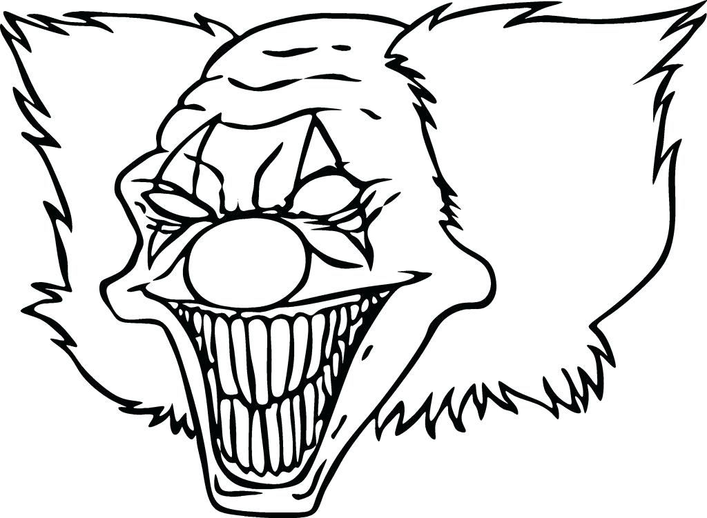1024x751 Scary Colouring Pages Evil Clown Coloring Pages Scary Clown