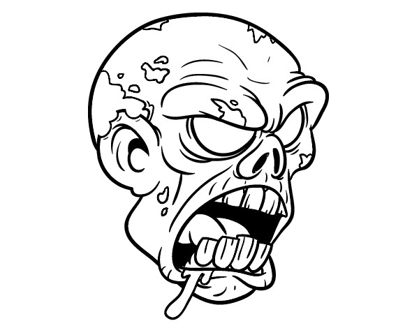 600x470 Scary Zombie Coloring Pages Scary Coloring Pages Zombie Face