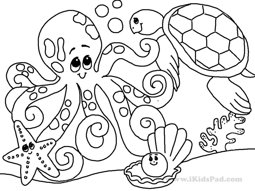 1024x768 Printable Coloring Page Sea Ocean Animals