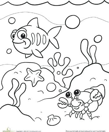 350x424 Sea Coloring Pages Worksheets Under The Sea Coloring Page Sea
