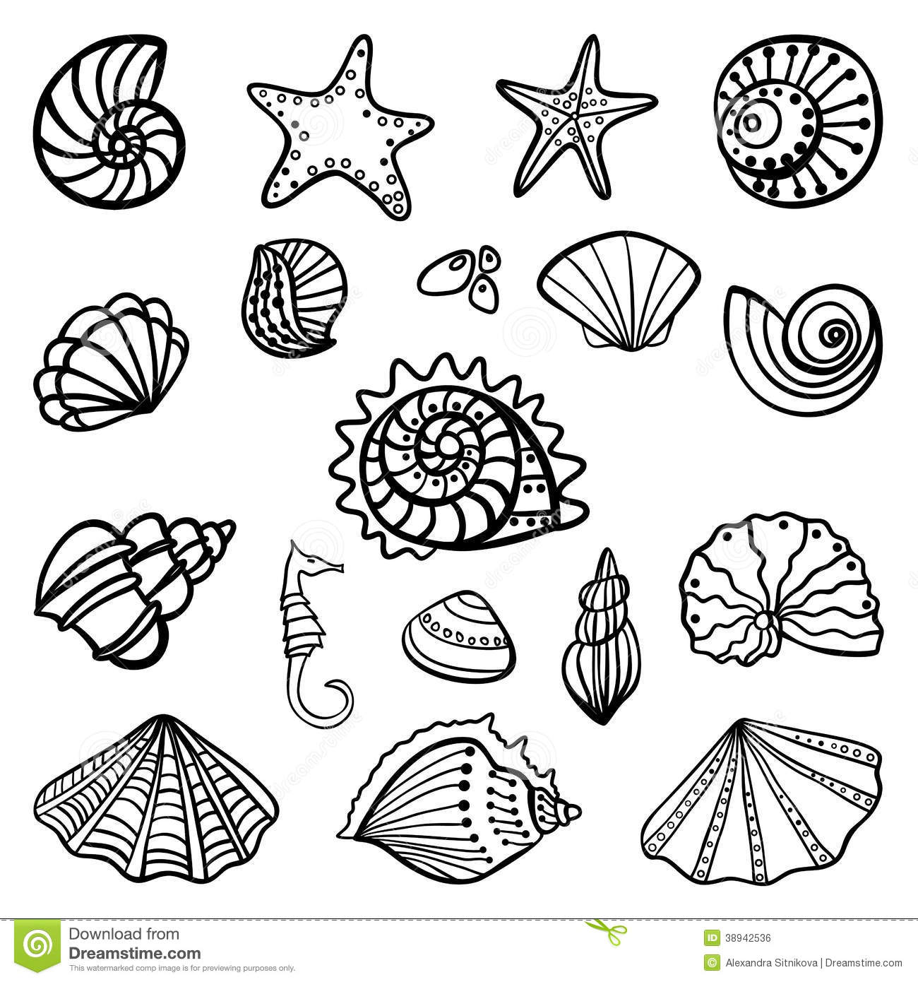 1300x1390 Beach Shells Coloring Pages Download And Print For Free