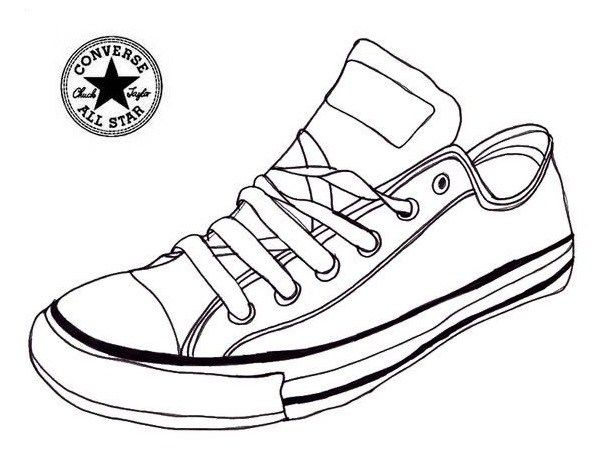 607x451 Converse Sneaker Coloring Page Shoes Shoes Coloring Page