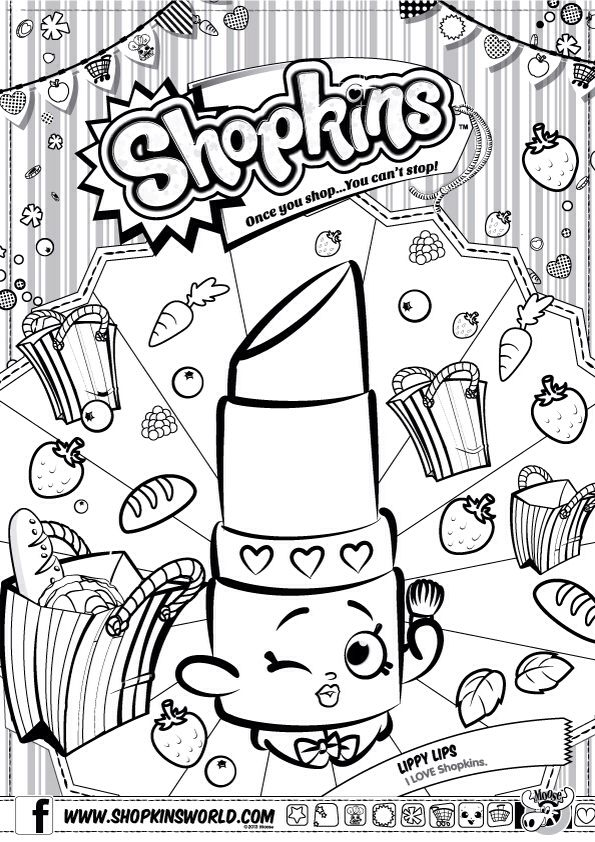 595x842 City Shopping Coloring Pages Shopkins Colour Color Page Lippy Lips