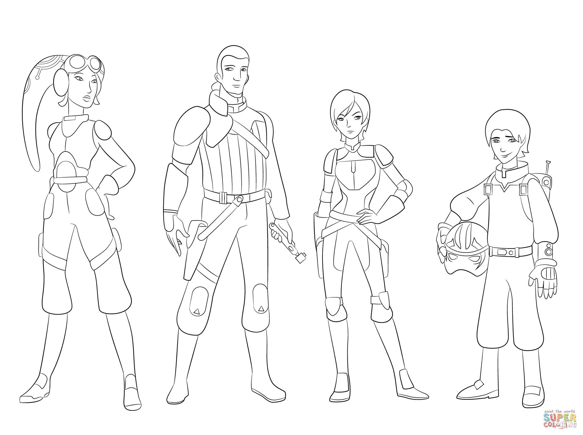 2046x1526 Star Wars Rebels Characters Coloring Page Free Printable Endearing