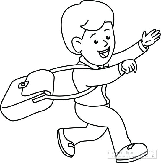 545x550 Student Coloring Pages Student Black And White Children Student
