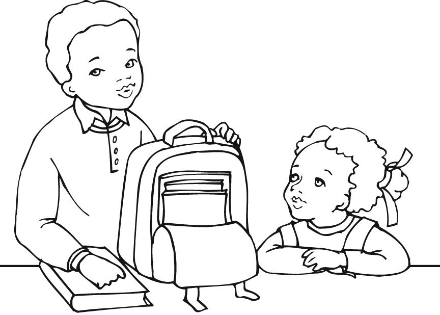 864x618 Printable Outline Of Students Getting Ready For School