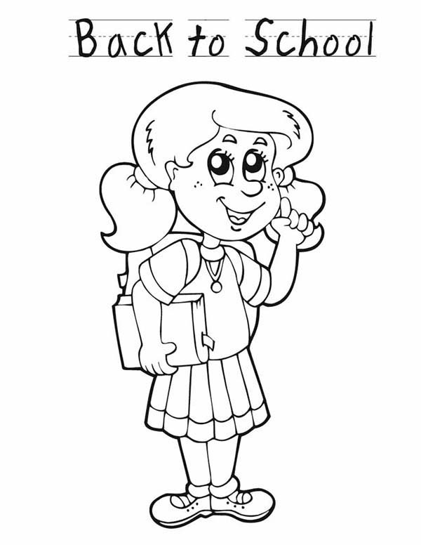 600x776 A Young Girl Student Is Very Happy For The First Day Of School