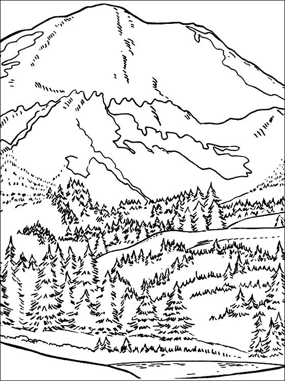 560x750 Mountain Coloring Pages Print
