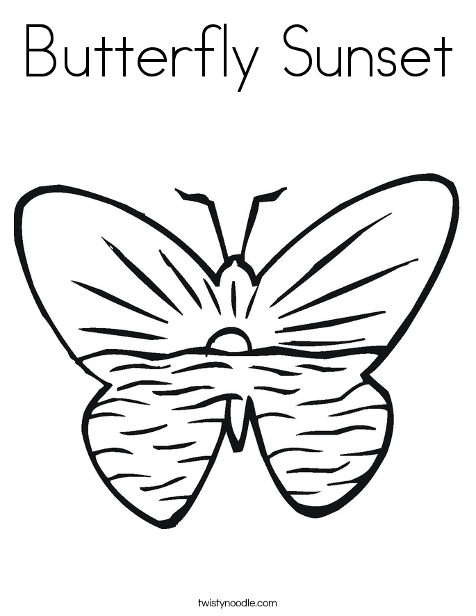 685x886 Butterfly Sunset Coloring Page