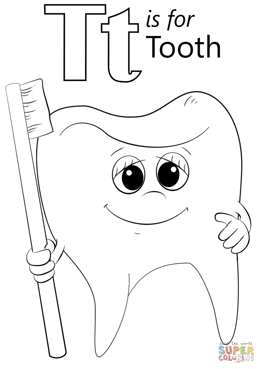 849x1200 T Coloring Pages Letter Is For Tooth Page Free Printable