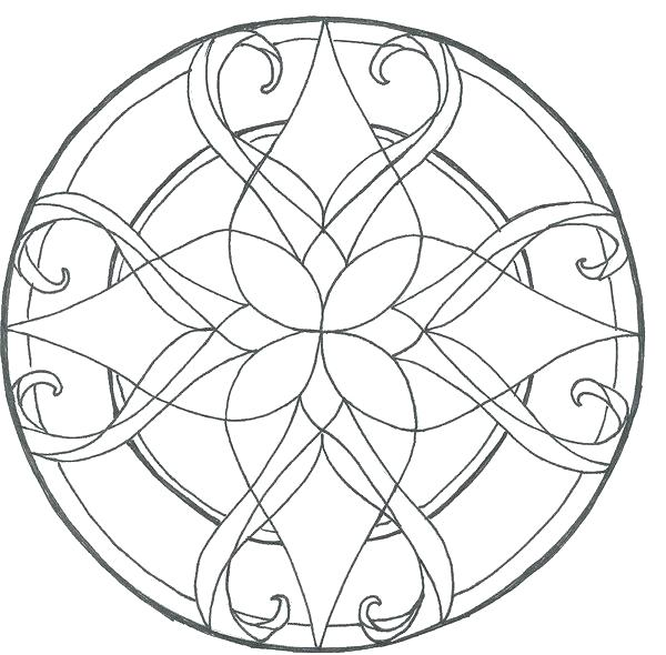 600x590 Stained Glass Coloring Pages Complex Stained Glass Coloring Pages