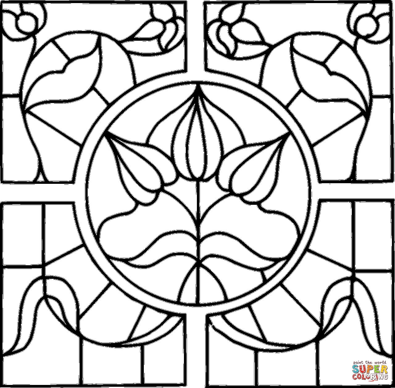 1280x1258 Stained Glass Window Coloring Page In Stained Glass Coloring Pages