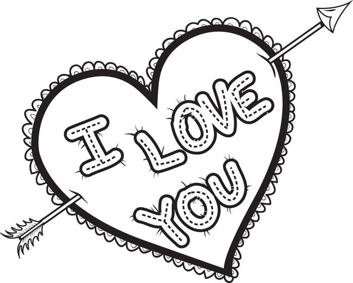 700x560 Coloring Pages Of Hearts That Say I Love You Free Printable I Love