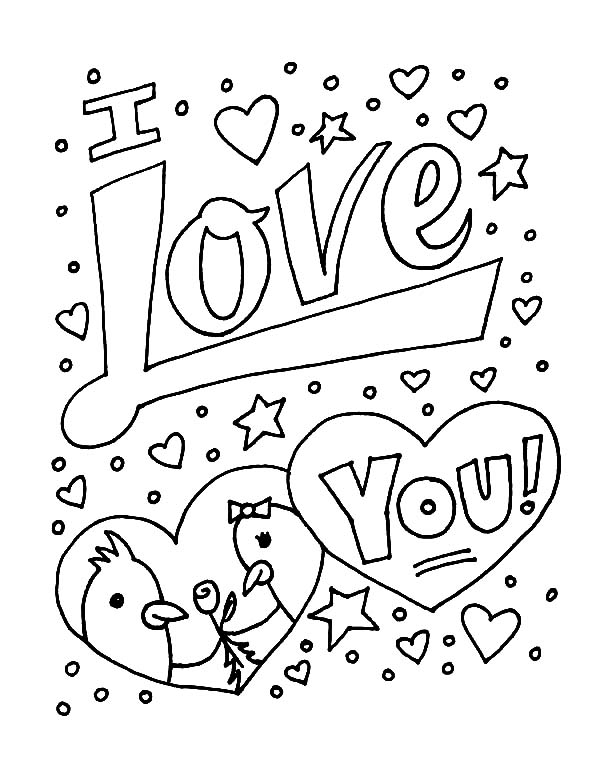 600x776 Two Birds In Love Say I Love You Coloring Pages Batch Coloring