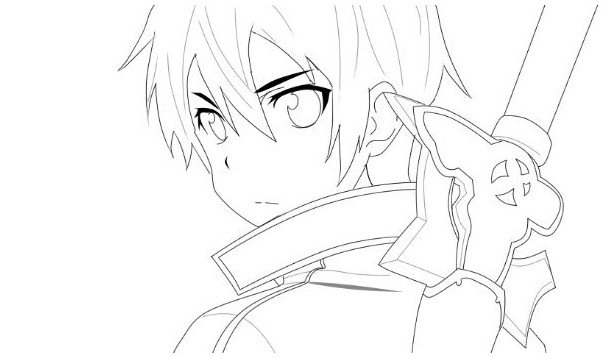 607x358 Kirito Sword Art Online Coloring Pages Drawing Board Weekly