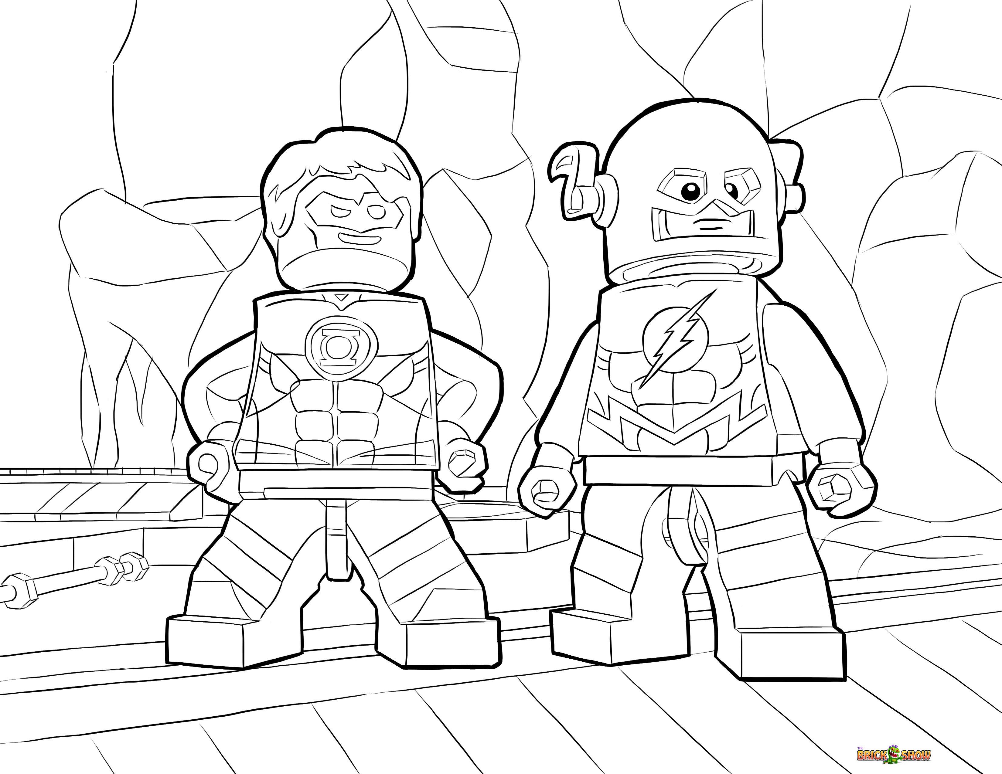 3300x2550 Lego Flash And Green Lantern Coloring Page, Printable Sheet