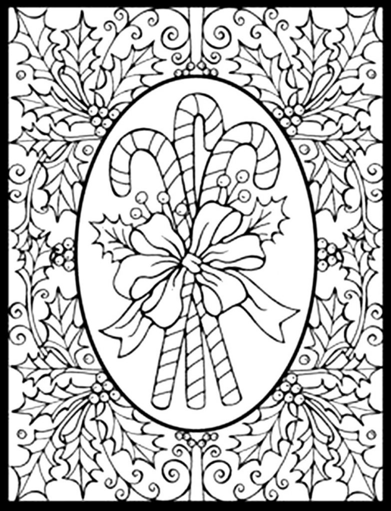 783x1024 Adult Christmas Coloring Pages Difficult Page With In Printable