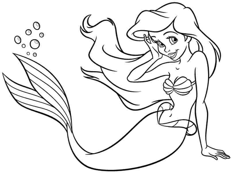 807x600 Disney Princess Ariel Coloring Pages To Print Colouring In Snazzy