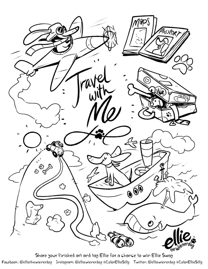 800x1035 Travel Coloring Pages Travel Coloring Pages Ellie The Wienerdog