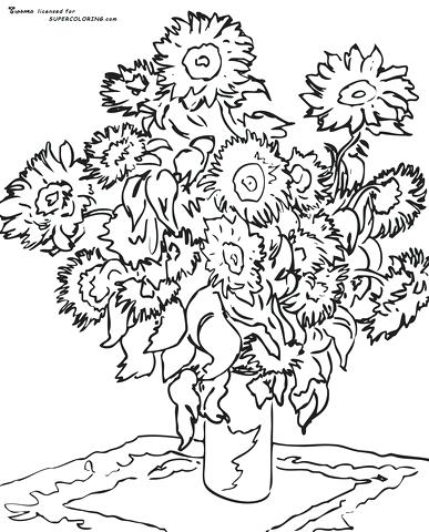 387x480 Sunflower Coloring Pages Free Coloring Pages Van Gogh Sunflower