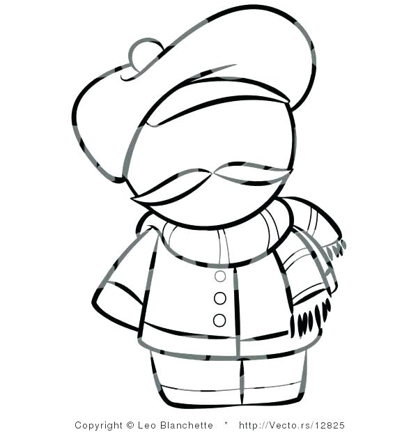600x620 Person Outline Coloring Page Scarf Coloring Page Person Outline