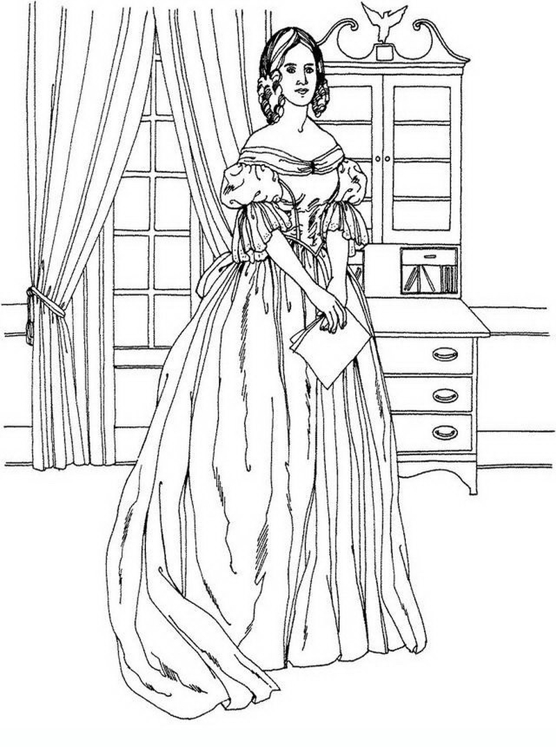 800x1075 Victorian Woman Vintage Fashion Challenging Coloring Pages