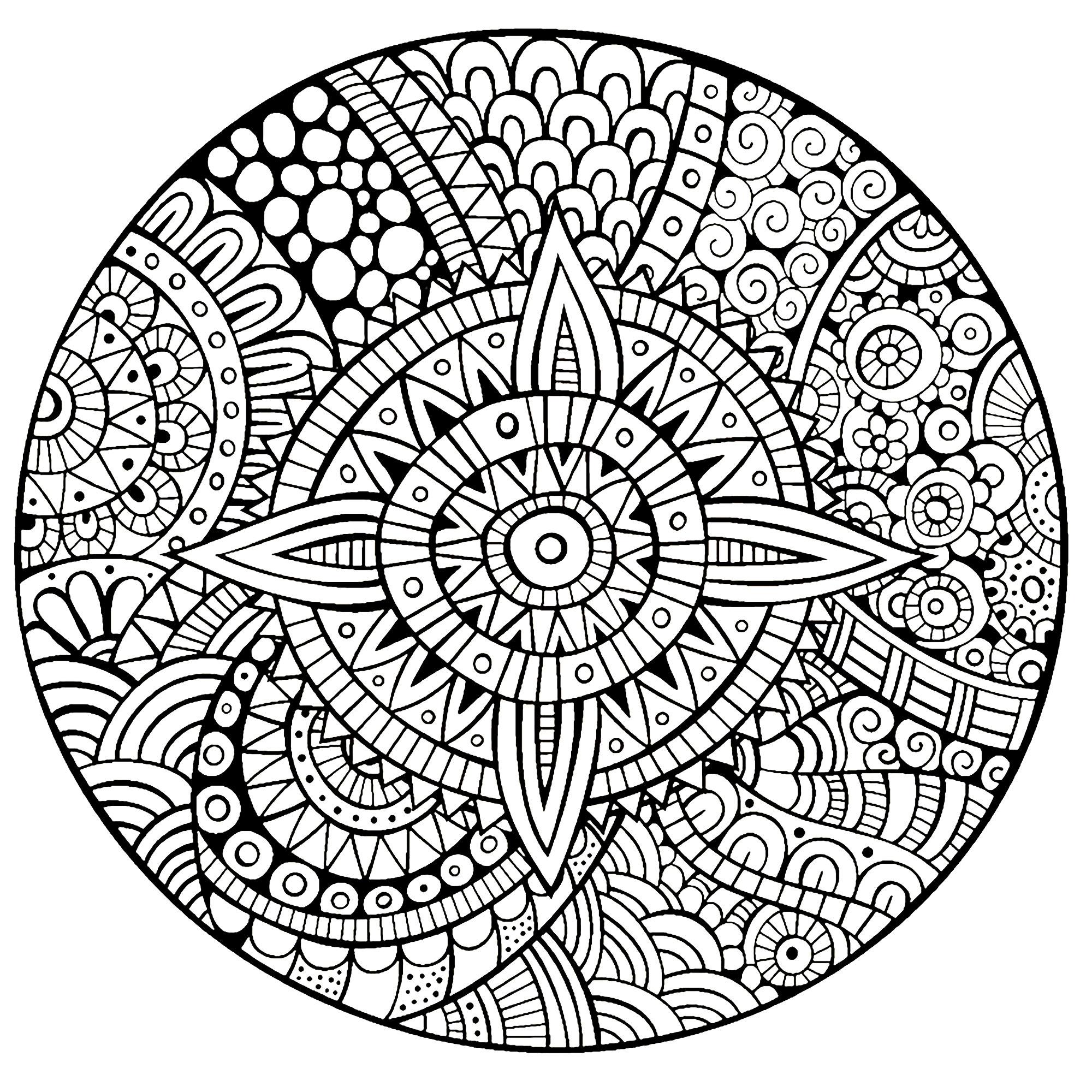 2000x2000 Mandala Star Thick Lines